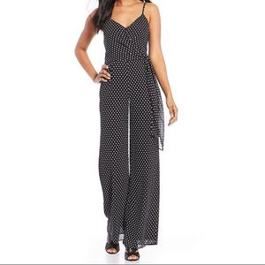 Michael Kors Simple Polka Dot Tie-Wrap Jumpsuit